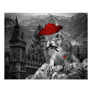 20x16 Funny French Painter Squirrel Art Photo Art