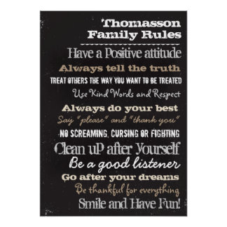20x28 Chalk Personalized Family Rules House Sign Poster