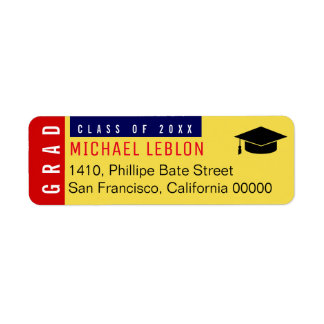 20XX grads color return address label with name