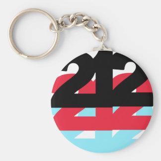 212 Area Code Basic Round Button Keychain