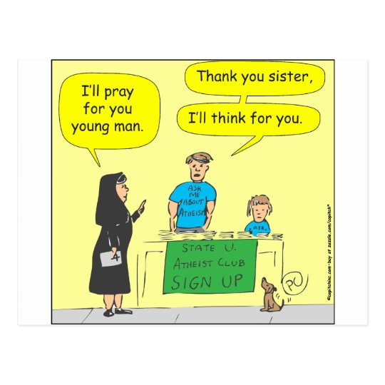 215 Atheist I'll think for you-colour cartoon Postcard