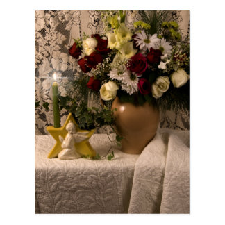 2162 Angel Vase Floral Still Life Postcard