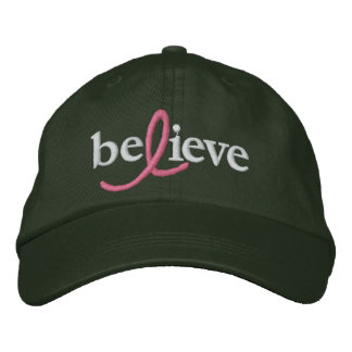 ($21.95) Believe Breast Cancer Ribbon Hat Embroidered Baseball Cap
