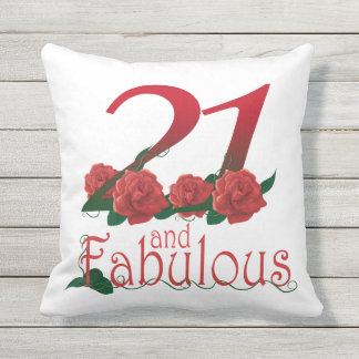 21 and fabulous 21st birthday red roses Pillow