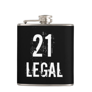 21 and Legal to Drink Grunge Birthday Hip Flask