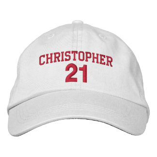 21 Birthday Custom Name Red Embroidery V06 Embroidered Hat