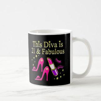 21 & FABULOUS PINK SHOE AND LIPSTICK DIVA DESIGN COFFEE MUG
