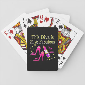 21 & FABULOUS PINK SHOE AND LIPSTICK DIVA DESIGN POKER DECK