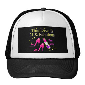 21 & FABULOUS PINK SHOE AND LIPSTICK DIVA DESIGN TRUCKER HAT