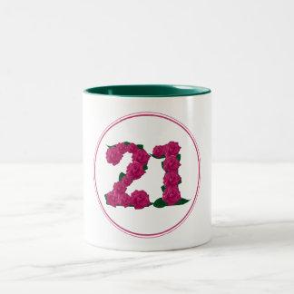 21 Number 21st Birthday Anniversary cute pink mug