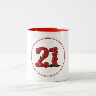 21 Number 21st Birthday Anniversary red mug