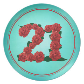 21 number birthday anniversary 21st roses plate