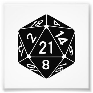 21 Sided 21st Birthday D20 Fantasy Gamer Die Photo Print