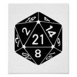 21 Sided 21st Birthday D20 Fantasy Gamer Die Poster
