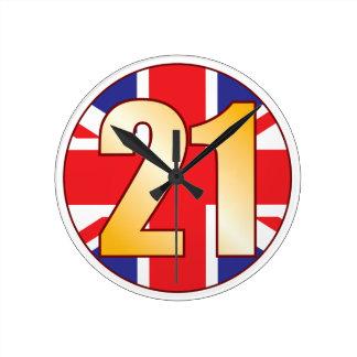 21 UK Gold Round Clock