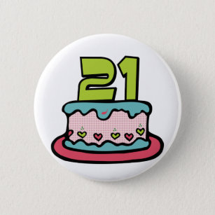 21 Year Old Birthday Cake 2 Inch Round Button