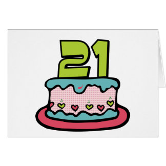 21 Year Old Birthday Cake Card