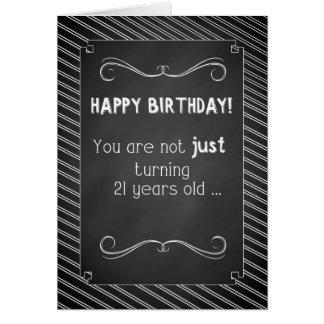 21 Year Old Happy Birthday, Chalkboard Look Card