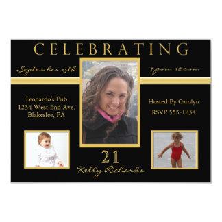 21ème Invitations de photo de fête d'anniversaire Carton D'invitation 12,7 Cm X 17,78 Cm