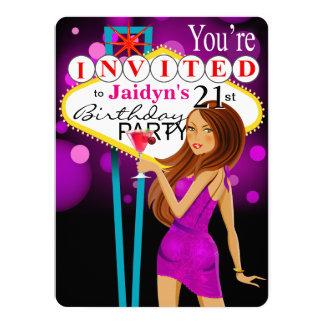 21ème pourpre de fête d'anniversaire de Jaidyn Las Carton D'invitation 13,97 Cm X 19,05 Cm