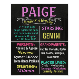 21st 16th Birthday Party chalkboard sign poster