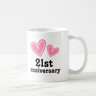 21st Anniversary Gift Hearts Coffee Mug