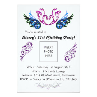 21st bday invite swirls