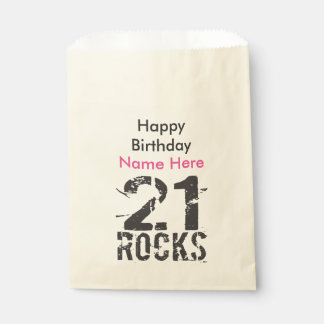21st Birthday - 21 Rocks Pink Black Party Supplies Favour Bag