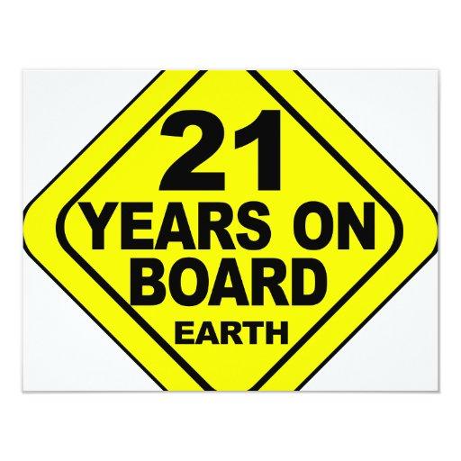 "21st Birthday 4.25"" X 5.5"" Invitation Card"