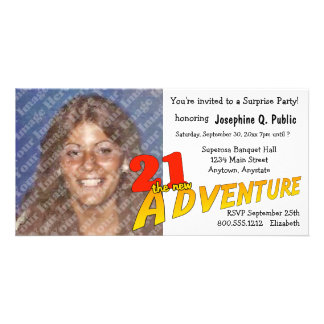 21st Birthday Adventure Party Photo Invitation Photo Card Template