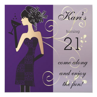 "21st Birthday Bash Party 5.25"" Square Invitation Card"