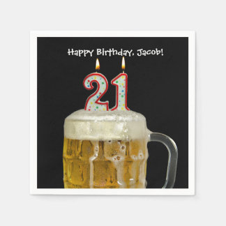 21st birthday beer disposable napkin