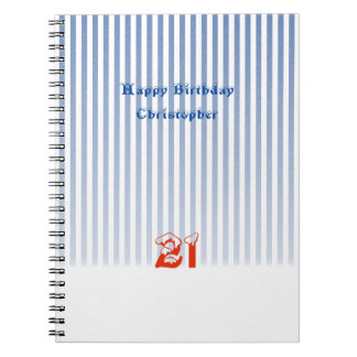 21st Birthday Blue Stripes Notebook