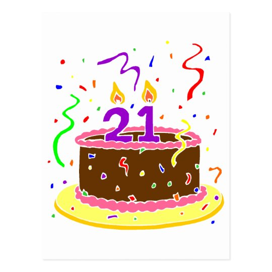 21st Birthday Cake Postcard