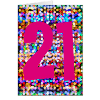 21st birthday card for female. Bright colourful