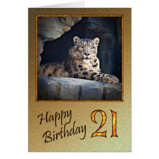 21st Birthday Card with a snow leopard