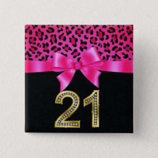 21st Birthday Cheetah Pink Bow Pin