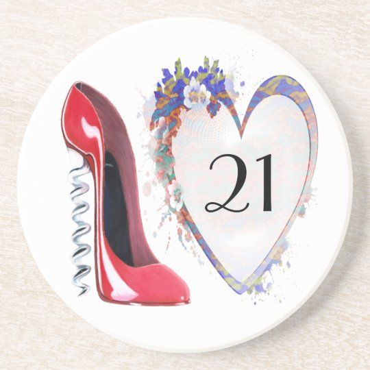 21st Birthday Coaster with Corkscrew Red Stiletto