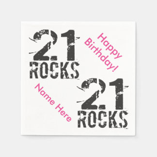21st Birthday Custom Name PINK 21 Rocks Paper Napkins