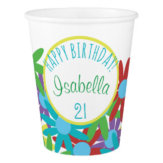 21st Birthday Floral Personalized Paper Cup
