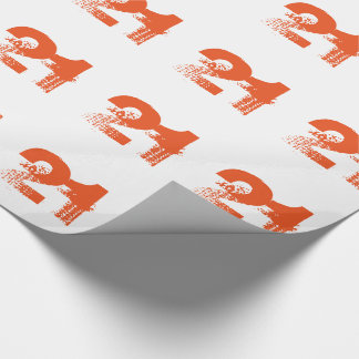 21st birthday for anyone, orange on white. wrapping paper