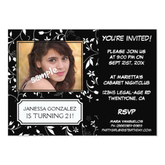 21st Birthday for Young Lady BW Floral with Photo Card