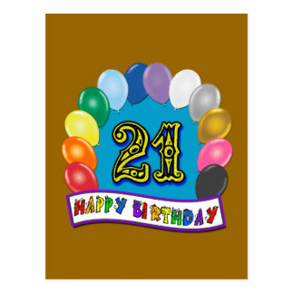 21st Birthday Gifts with Assorted Balloons Design Postcard