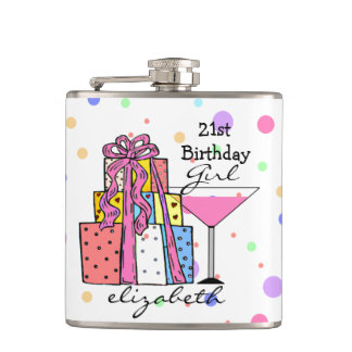21st Birthday Girl- Flasks