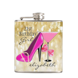21st Birthday Girl Gold Glitter Girly Chic Flasks