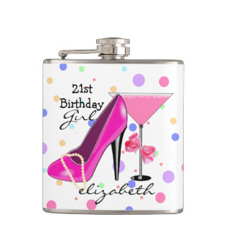21st Birthday Girl Pink High Heel Personalized Flasks