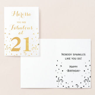 21st Birthday Gold Foil You are Fabulous at 21 Foil Card