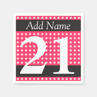 21st Birthday Hot Pink Personalized Polka Dots Paper Napkin