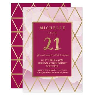 21st Birthday Invitation - Gold, Elegant, Trendy