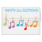 **21st  BIRTHDAY** MUSICAL NOTES BIRTHDAY WISHES